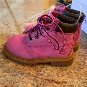 Brand new baby girl Timberland pink boots size 5